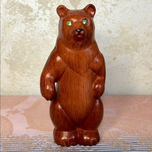 Vintage faux wood bear figure green rhinestone eye